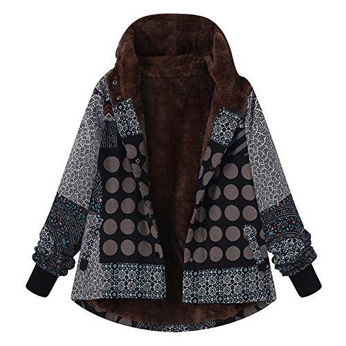 OIKAY Plus Größe Damen Mit Kapuze Langarm Baumwolle Leinen Flauschigen Pelz Reißverschluss Outwear Mäntel (Plus Größe Winter Mantel Wolle)