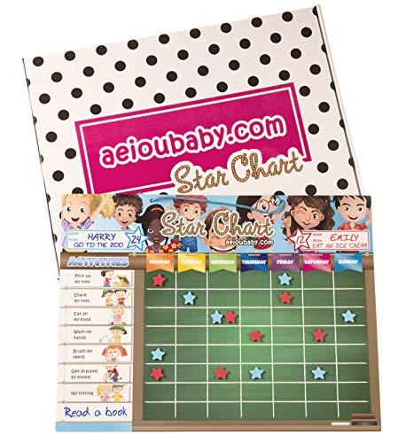aeioubaby.com BELOHNUNGSTAFEL Magnetisch Groß | Sternchenplan für Wand oder Kühlschrank, 43x32cm. 12 Tätigkeiten, 2 Stifte und 1 Ballon | Geschenkbox Kinder und Geburtstage (Englisch) Utensil Wand