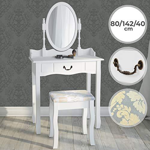 Schminktisch mit Hocker und Spiegel   in Weiß (ca. 80/142/40 cm), Schwenkbarem Spiegel und Schubladen   Frisiertisch, Frisierkommode, Kosmetiktisch, Schminkkommode, Schminkspiegel, Make-up Tisch