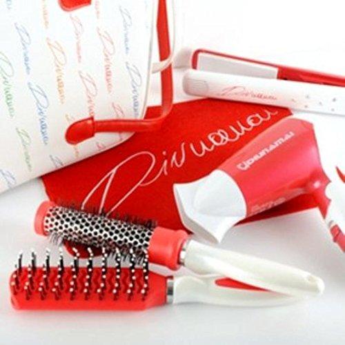 Kit beauty con piastra phon + 2 spazzole + borsa viaggio