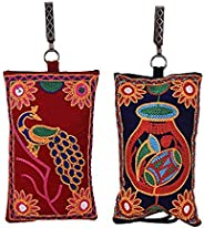 Craft Trade Women's Cotton Embroided Mobile-Phone Pouch Cover - Set