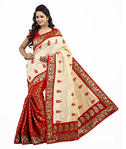 Anshika Lifestyle Trendy and EyeCatching Red Colored Half and Half Embroidered Chanderi Cotton Silk Sarees With Fancy Lace Border Partywear Sober Look Saree with Dupion Silk Blouse Piece(SF100810) Especially Designed For Southern Eastern and Western India