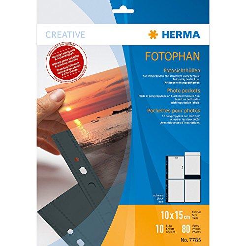 Herma 7785 Fotophan Fotohüllen schwarz (für max. 80 Fotos im Hochformat 10 x 15 cm) 10 Sichthüllen, beidseitig befüllbar, inkl. Beschriftungsetiketten, für alle gängigen Foto-Ordner und -Ringbücher