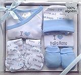 Set de regalo para bebé,5 piezas,100% Algodón,color azul,(HC Enterprise-A)