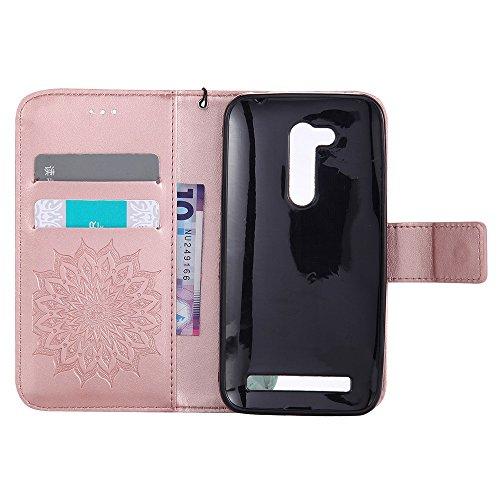 Für Asus Zenfone ZB452KG Fall, Prägen Sonnenblume Magnetisches Muster Premium Weiche PU Leder Brieftasche Stand Case Cover Mit Lanyard & Halter & Card Slots ( Color : Pink ) Rose Gold