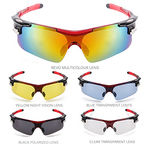 TOMOUNT Gafas de Sol Deportivas Protección Mascara 5 Lentes Intercambiables Ciclismo Viaje Deporte Rojo UV400 para montar pescar esquiar