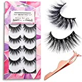 MINTHE 5 pairs Faux 3D Mink lashes multipack,False eyelashes natural with an eyelash applicator