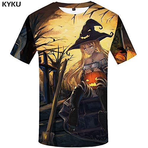 KYKU Schädel T-Shirt Männer Lustiges T-Shirt Halloween Hexe 3D T-Shirt Druck Anime Kleidung Flamme Punk Rock Herren Kleidung Lässig Sommer