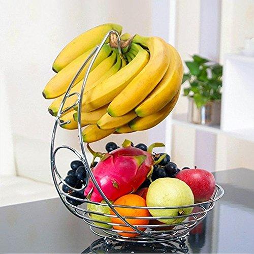 Premium Qualität 2-in-1-Obstkorb mit Bananen-Kleiderbügelhaken - Eleganter Obstkorb aus Edelstahl mit Chrom-Finish - Obstschale Korb Schale Draht Ständer von Kitchen Stars