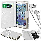 N4U Online® - Parla Gala PU-Leder Saugnapf Mappen-Kasten-Abdeckung und 3,5-mm-Ohrhörer Stereo-Ohrhörer - Weiß