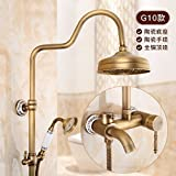 Hlluya Wasserhahn für Waschbecken Küche Alle Kupfer antiken Aufzug Dusche mit heißem und kaltem Wasser Hahn Sprühkopf Badezimmer Suite G10