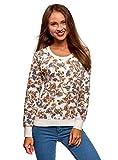 oodji Ultra Damen Bedrucktes Sweatshirt Basic, Elfenbein, DE 38 / EU 40 / M