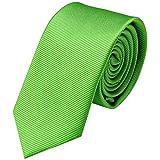 GASSANI Krawatte 6cm Breite Schmal | Grüne Rips Herrenkrawatte zum Sakko | Slim Schlips Binder einfarbig Hell-Grün mit feinen Streifen