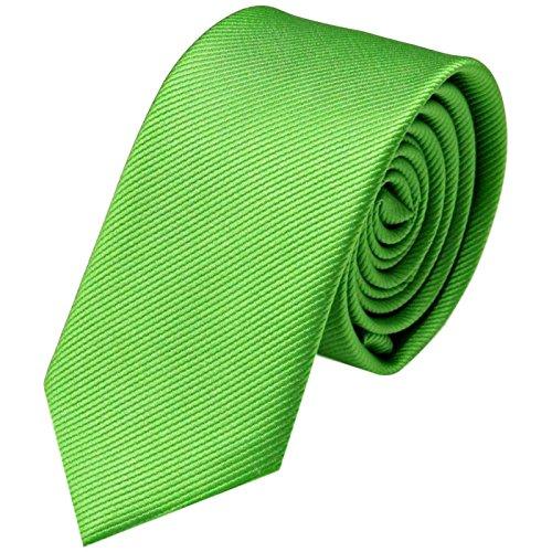 Breite Schmal | Grüne Rips Herrenkrawatte zum Sakko | Slim Schlips Binder einfarbig Hell-Grün mit feinen Streifen ()