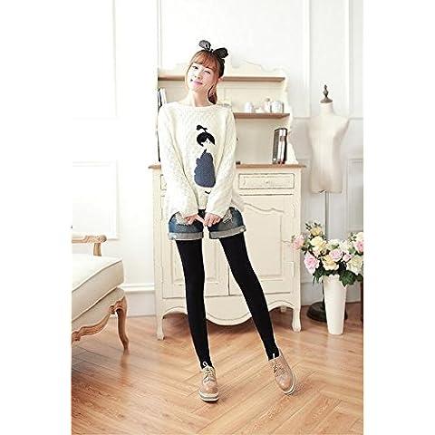 Anti-pilling di strisce verticali in nylon in autunno e inverno stringivita uno più spessi di velluto leggings , navy