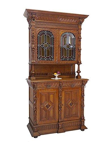 Buffet Schrank Küchenschrank Gründerzeit um 1880 Eiche mit Bleiverglasung (6469)