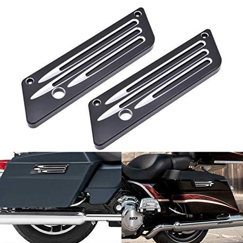 NATGIC (rechts & links) Schwarze Motorradkante Deep Cut Satteltaschenverschlüsse Cover Face Motor Heckverkleidung für Harley Street Glide Ultra (1993-2013) - 1 Paar (Harley Motor Teile)