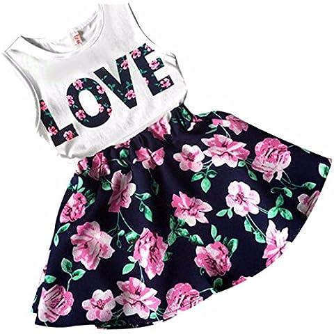 Internet Bambina Abitini,Ragazze Love lettere stampate maniche della maglia floreale Skirt Set