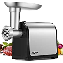 Aicok Picadora de Carne Eléctrica, Máquina Picadoras de Carne de Acero Inoxidable y Embutidora de