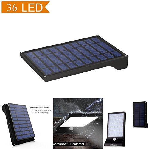 DIKAOU LED Lampe solaire Jardin murales sans fil extérieur étanche imperméable à l'eau (norme IP65) 36 LED Lumière Énergie solaire à détecteur de mouvement de sécurité Capteur