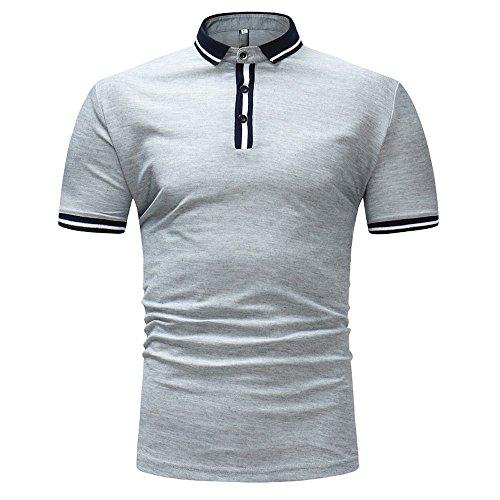 MNRIUOCII Herren Poloshirts Kurzarm Slim Fit Sommer T-Shirt Men's Polo Shirts Stretch Kurzarm Polohemd Polo Shirts Basic T-Shirt MäNner Sport Tank Tops Hemden Sweatshirt (C-Grau, M) - Hanes T-shirt Sweatshirt