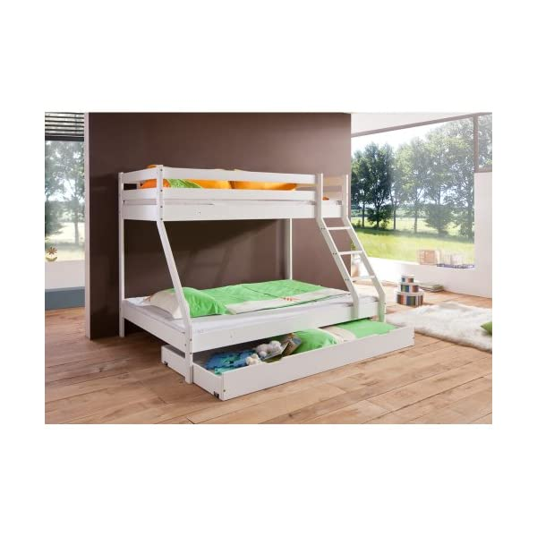 Relita Mike Bunk Bed with Bed Drawer in Solid Beech Wood White Lacquered Relita Width approx in cm: 160 Height approx in cm: 210 Depth approx in cm: 152/240 2