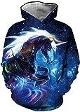 EUDOLAH Jungen Sweatshirts für 4-13 Alter Kinder Langarm 3D Druck Mehrfarbig Bunt Kids Herbst Winter Hemd mit Kaputzen A-Blitz Löwe L
