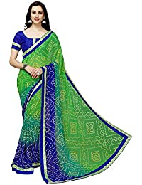 Online Fayda Women's Georgette Saree With Blouse Piece (Of288,Green,Free Size)