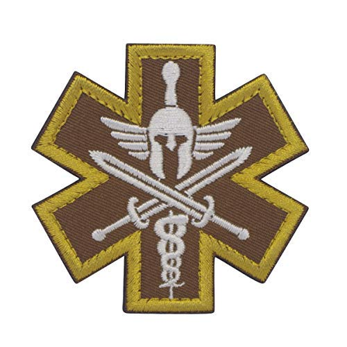 f6d8be6039d Cobra Tactical Solutions Military Besticktes Patch Brown Molon Labe Star of  Life Medic mit Klettverschluss für