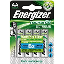 Energizer AA-HR6 Extreme Batteria Ricaricabile, AA, 2300 mAh, Argento, (4 (Batterie Aa Ricaricabili)