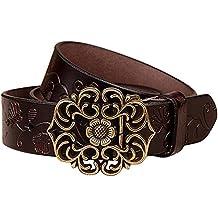 NormCorer Cinturón de cuero de la hebilla de la flor del cuero genuino de  las mujeres 875fb7c82a6d