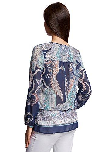 oodji Collection Damen Chiffon-Bluse mit Druck Blau (7973E)