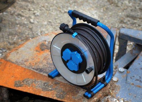 as – Schwabe 10725 Iron Coat Profi-Metall-Kabeltrommel, 25 Meter, 230 V, 16 A, Gewerbe / Baustelle - 3