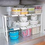 Adjustable Extendable Multi Purpose Kitchen Bathroom Under Sink Rack Shelf Organiser Storage Tidy White