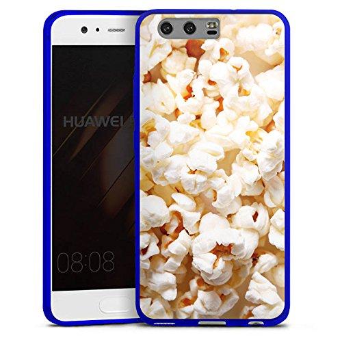 Huawei P10 Slim Case transparent blau Silikon Hülle Schutzhülle Kino Popcorn Poppin Corn