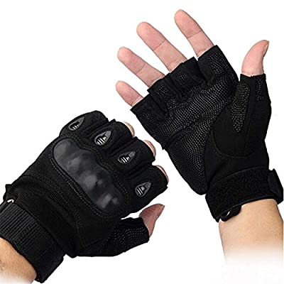 Al aire libre Airsoft caza ciclismo moto conducción táctica guantes Fingerless L negro