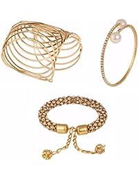 Efulgenz Designer Combo Of Fancy Party Wear Cuff Bracelet And Kada Bracelet For Girls And Women