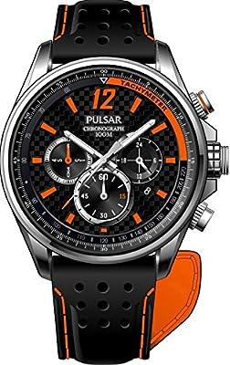 Pulsar Chronograph - Reloj de cuarzo para hombre, correa de cuero color negro