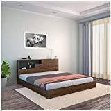@home by Nilkamal Borden King Size Engineered Wood Bed with Headboard Storage (Pre-Laminated Engineered Wood - Black)