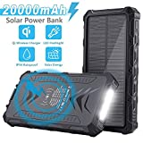 Sendowtek Solar Power Bank, Portable Phone Charger 20000mAh, QI Wireless, Solar Charger