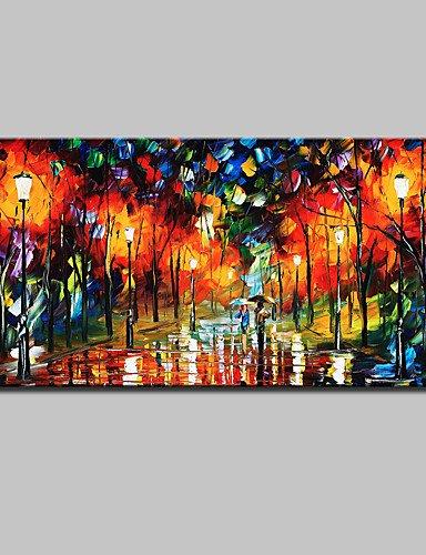 Lemon&T Dipinta a mano Astratto / Paesaggi / Paesaggi astratti Dipinti ad olio,Modern Un Pannello Tela Hang-Dipinto ad olio For Decorazioni per , with stretched frame-l , with stretched frame-l