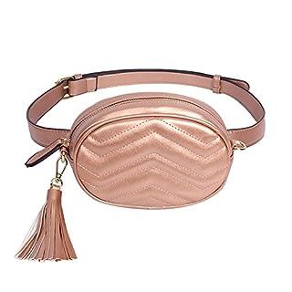 Badiy Women Leather Waist Belt Bag Elegant Fanny Pack Cell Phone Money Pouch
