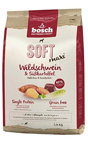 bosch HPC SOFT Wildschwein & Süßkartoffel | halbfeuchtes Hundefutter für ausgewachsen Hunde großer Rassen (ab 25 kg) | Single Protein  | Grain Free, 1 x 2.5 kg