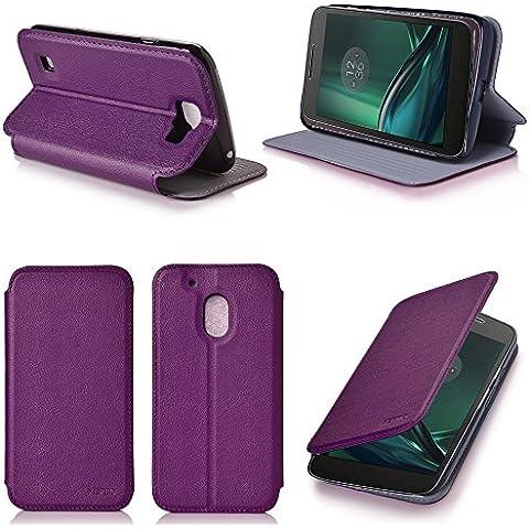 Púrpura Cuero Funda Folio Carcasa para Lenovo Motorola Moto G 4 PLAY Generación 2016 Dual Sim Piel Case Cover con Soporte - Flip cover caso para Moto G4 PLAY 5 pulgadas (PU Cuero Purple - Accesorios XEPTIO case