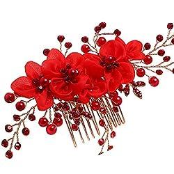 YAZILIND Tocado Belleza Nupcial Pelo Peine Rojo Encaje Flores Rhinestones Pelo de la Boda Accesorios Fiesta para Mujeres