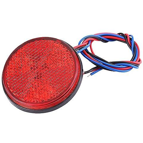 Qiilu Feu arrière étanche Motocyclette Scooter Rondelle Clignotant avec lentille réfléchissante 24 lampe LED SMD pour Camion Remorque Bateau (Rouge)