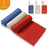 Eono by Amazon - 3 PCS 100x30cm Asciugamano Raffreddamento, Istantaneo Freddo Ghiaccio Asciugamano, Sportivo Asciugatura Rapida Gym Sciarpa Towel, Blu reale-Grigio-Rosso