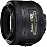 Nikon AF-S DX Nikkor 35 mm f/1.8 G - Objetivo para montura F, distancia focal fija 52.5 mm, apertura f/1.8G, negro - Versión