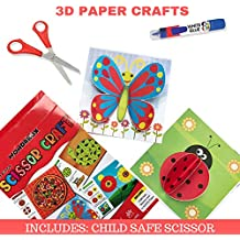WONDRBOX Scissor Craft Kit for Kids( Best Art and Craft Gift for 3,4,5,6 Year Old Boys and Girls) | Includes: 12 DIY Paper Crafts and Child-Safe Scissors