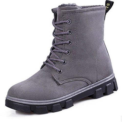 HSXZ Scarpe donna tessuto Autunno Inverno fodera Fluff Snow Boots stivali Flat Babbucce/Stivaletti per outdoor casual rosso marrone Nero Grigio Brown